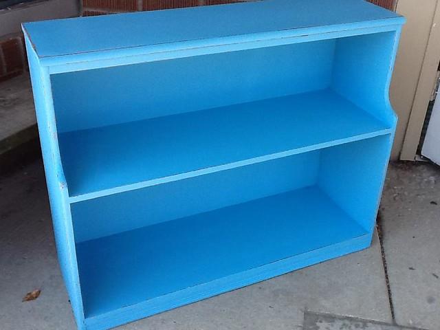 turqoise bookshelf