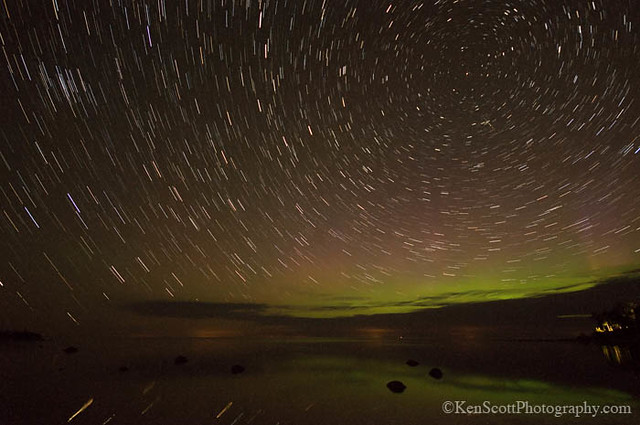Aurora Borealis ... with star trails