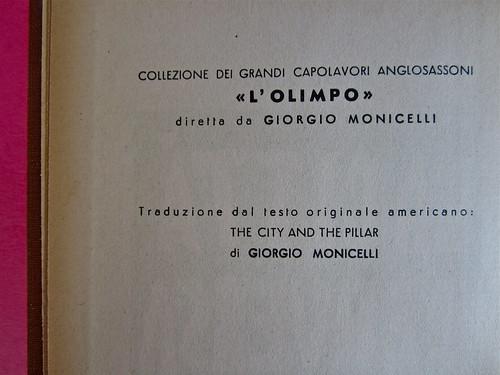 Gore Vidal, La città perversa, Elmo editore 1949. Colophon (part.), 2