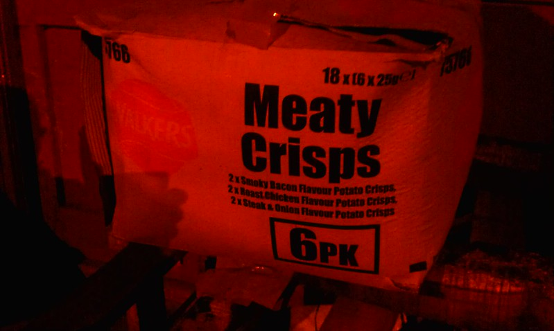 Meaty Crisps! (I gather it's probably bbq flavoured potato chips/crisps)