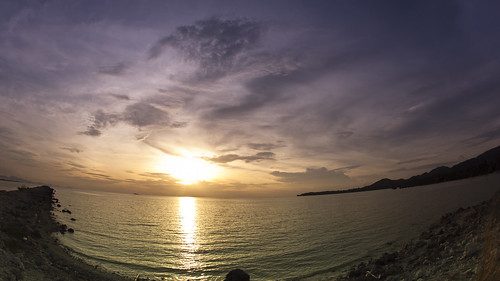 Colorful tropical sunset timelapse at the beach, Fisheye