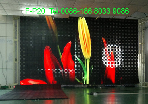 F-P20 3.2x5.76 flex led curtain by soft flexible LED vision curtain display