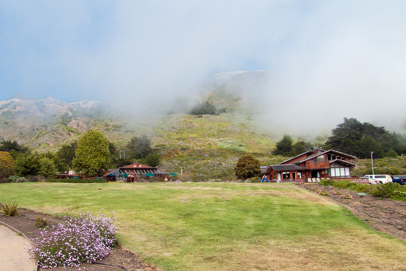 Fog over the resort at Ragged Point, Big Sur