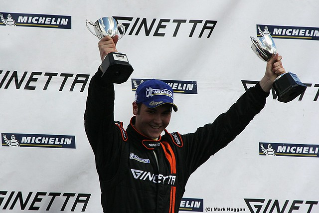 The Ginetta Junior podium at the 2012 BTCC weekend at Donington Park in April 2012
