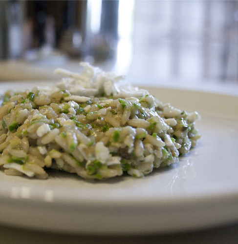 Asparagus Risotto with Caramelized Leeks and Ricotta Salada