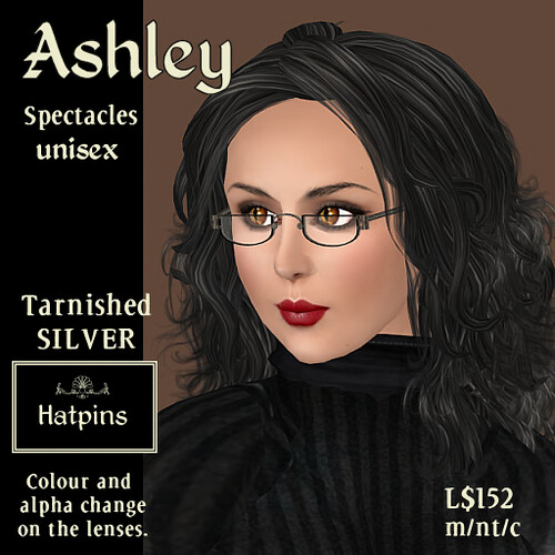 Ashley Specs - Tarnished Silver Advert