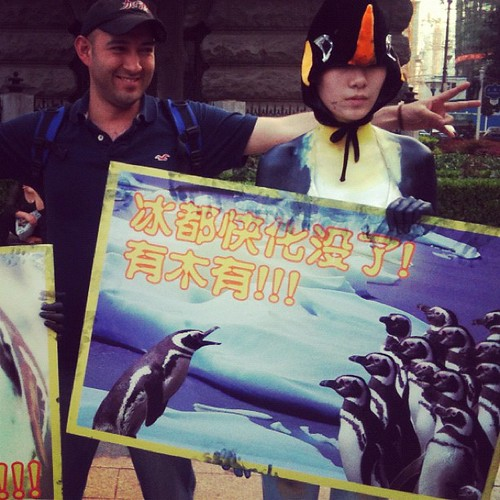 Student organzed Global warming act - penguins & Juan. Wuhan, China