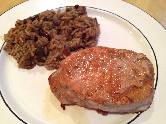 Pan fried pork chop and dirty rice