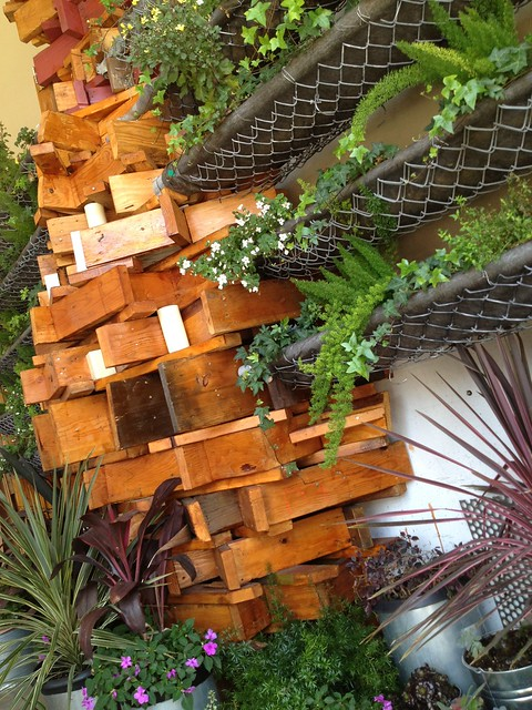 Cool wooden blocks sculpture and planters
