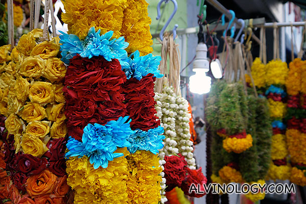 Colourful flower garlands