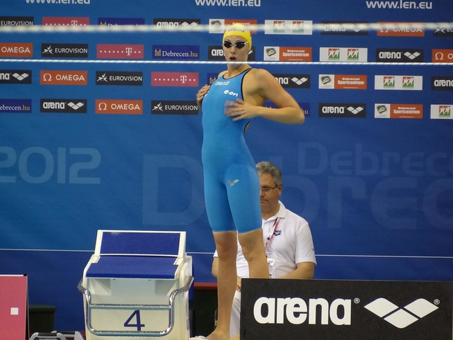 Jennie Johansson before the Debrecen 2012 women's 100 breast