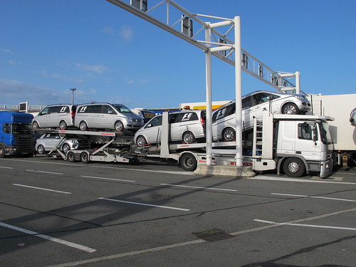 Mercedes Car Transporter Carrying F1 Support Fleet