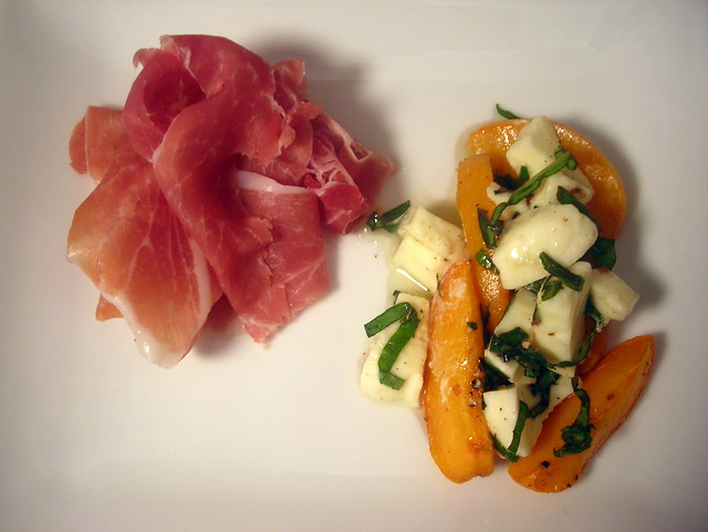 Prosciutto crudo, roasted apricots, mozzarella cheese