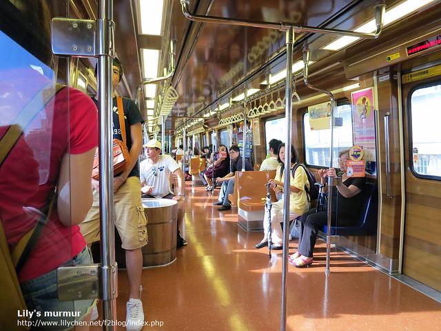 新北投列車,特別裝飾過,很有溫泉鄉的味道了。
