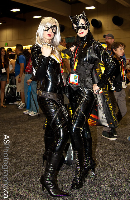 Twisted Twins UK as Black Cat And Catwoman at Comic-Con 2012