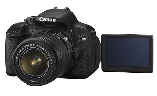 The new Canon EOS 650D with open LCD screen - announced today