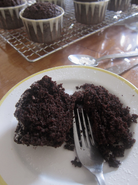chocolate cupcake innards