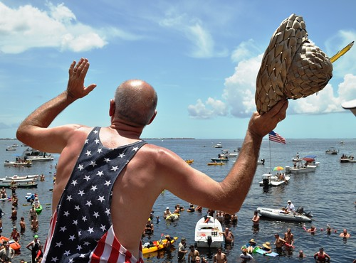 Co-Founder Michael P. Haymans at the 21st Annual Charlotte Harbor Freedom Swim Across the Peace River, Charlotte Harbor to Punta Gorda, July 4, 2012