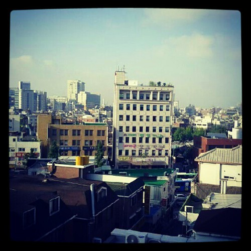 "View from the rooftop ""garden"" of our guesthouse...looking out into the Hongdae district. by keaki83"