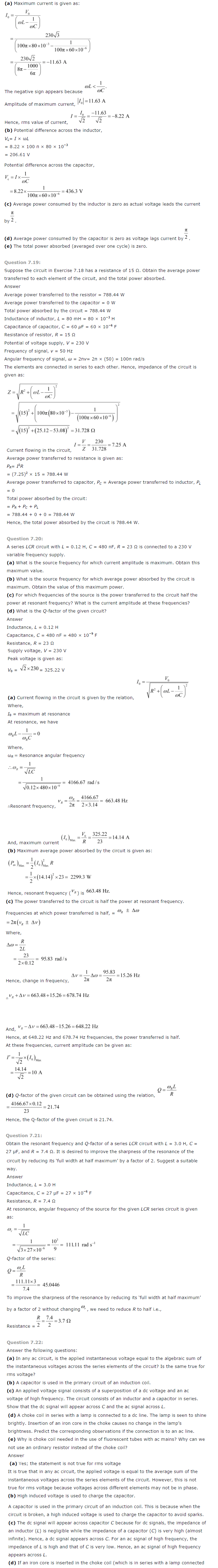 NCERT Solutions For Class 12 Physics Chapter 7 Alternating