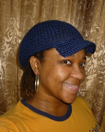 Navy Brimmed Slouchy Hat - Front View