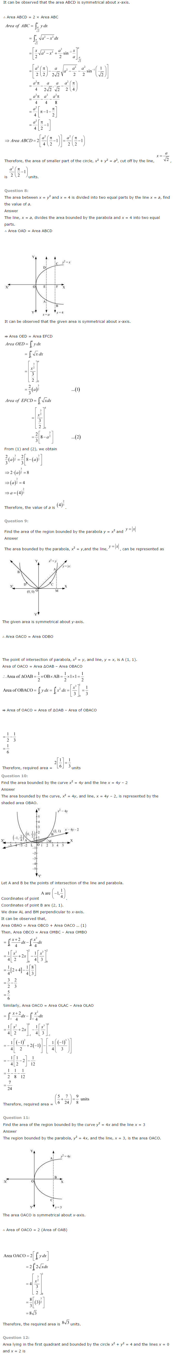 NCERT Solutions for Class 12 Maths Chapter 8 Application of Integrals ex 8.2