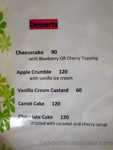 Maimee's Garden Cafe dessert menu