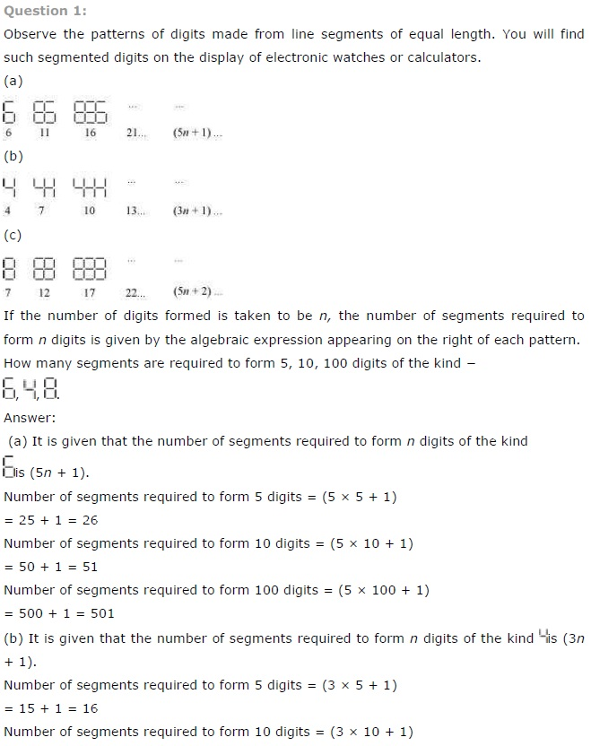 NCERT Solutions for Class 7th Maths Chapter 12 Algebraic Expressions Exercise 12.4