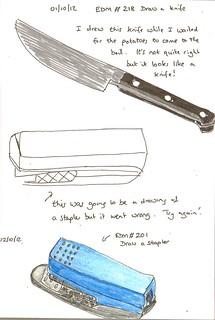 EDM #218 Draw a knife & EDM #201 Draw a stapler