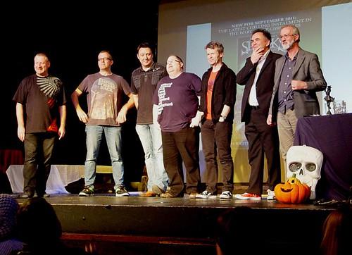 Tony Higginson, David Gatward, Barry Hutchison, Tommy Donbavand, Jon Mayhew, Philip Caveney and Joseph Delaney at Scarefest 3 - photo by Sean Steele