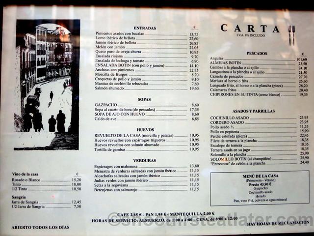 Restaurante Botin Spanish menu