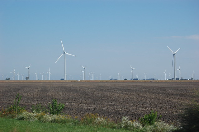 Wide view of the Indiana wind farm.  Many wind turbines