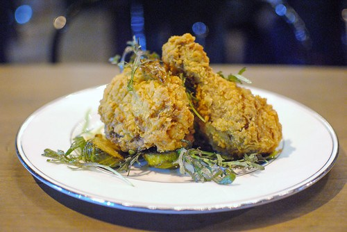 FRIED CHICKEN brussels sprouts, date vinaigrette