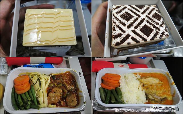 上面是不同口味的蛋糕,但都很美味;下面是我跟尼的飛機餐,左下是我的牛肉+麵條,右下是尼的雞肉。我的麵條有點乾之外,其他都不錯。