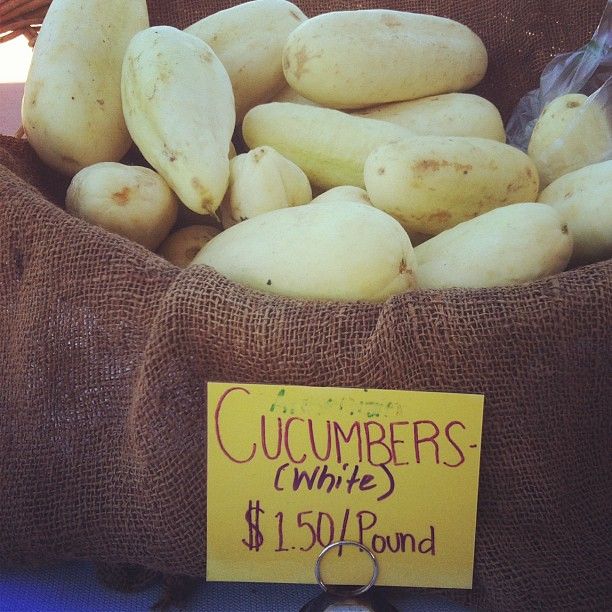 White #cucumbers at the #farmersmarket