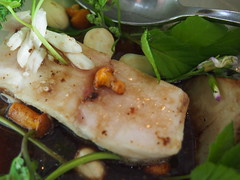 Detail of finished dish: Turbot and bitter greens, celeriac and mushroom