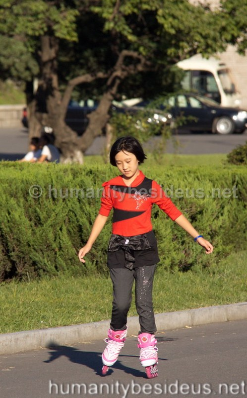 Roller skating in Pyongyang