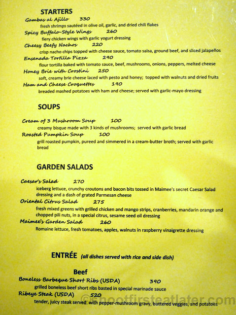 Maimee's Garden Cafe menu