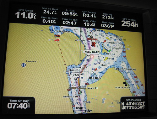 Flying through Hell Gate at 11 knots!