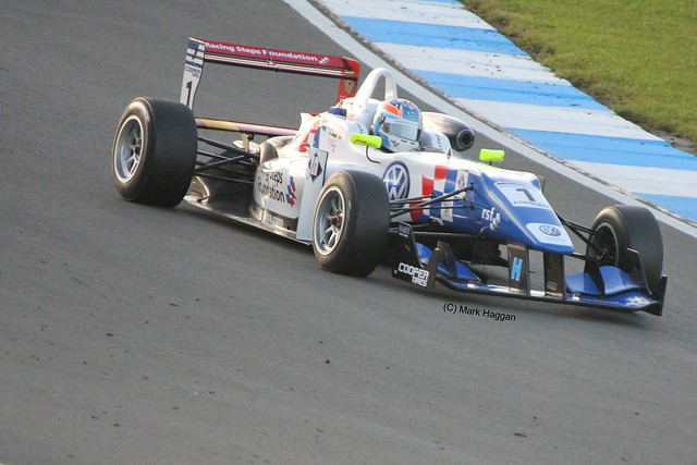 Jack Harvey in his Carlin during Formula Three Racing at Donington Park, September 2012