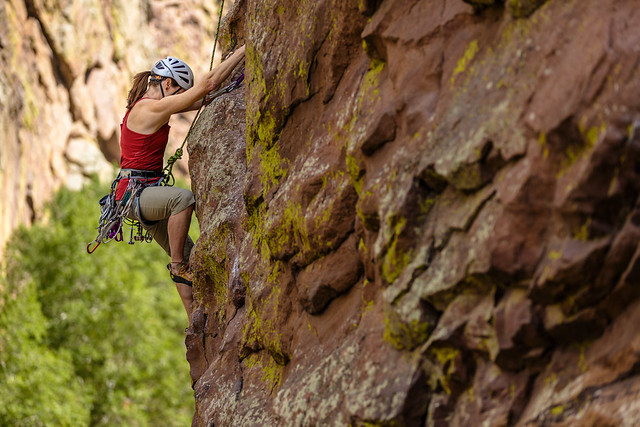 Tracey Dugdale (My Sister) Climbing Bastille Crack