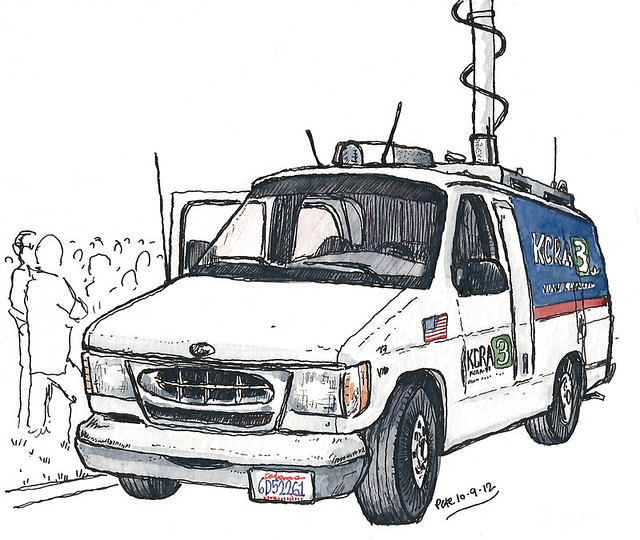 kcra3 van at clinton rally