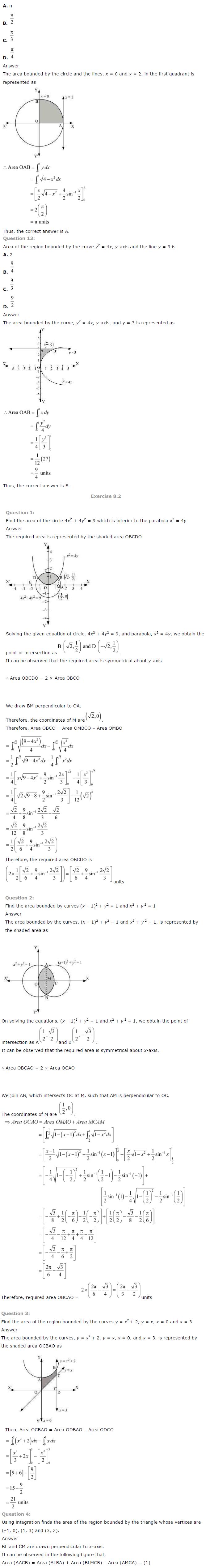 NCERT Solutions for Class 12 Maths Chapter 8 Application of Integrals ex 8.3