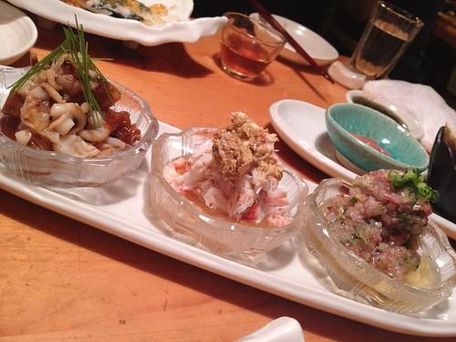 お店お任せの珍味たち。@すし屋魚真 下北沢店