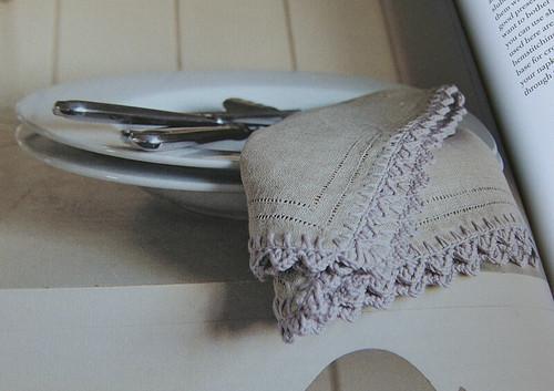 Crochet edging on a napkin from Simple Crochet