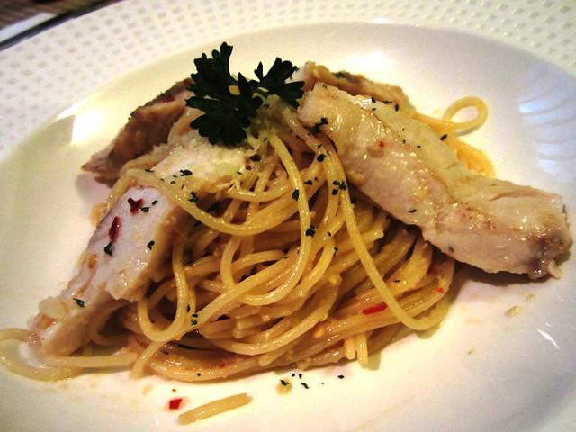 Grilled fish aglio olio