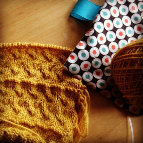 Swatching for Tiny Rocky Coast baby sweater