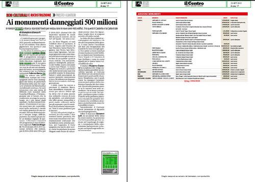 TERREMOTO SISMA L'AQUILA: [parte 1] RICOSTRUZIONE - PRESTO I CANTIERI - Ai monumenti danneggiati 500 milioni, IL CENTRO (22/09/2012), p.15. by Martin G. Conde