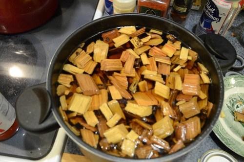 Soaking Hickory Chips