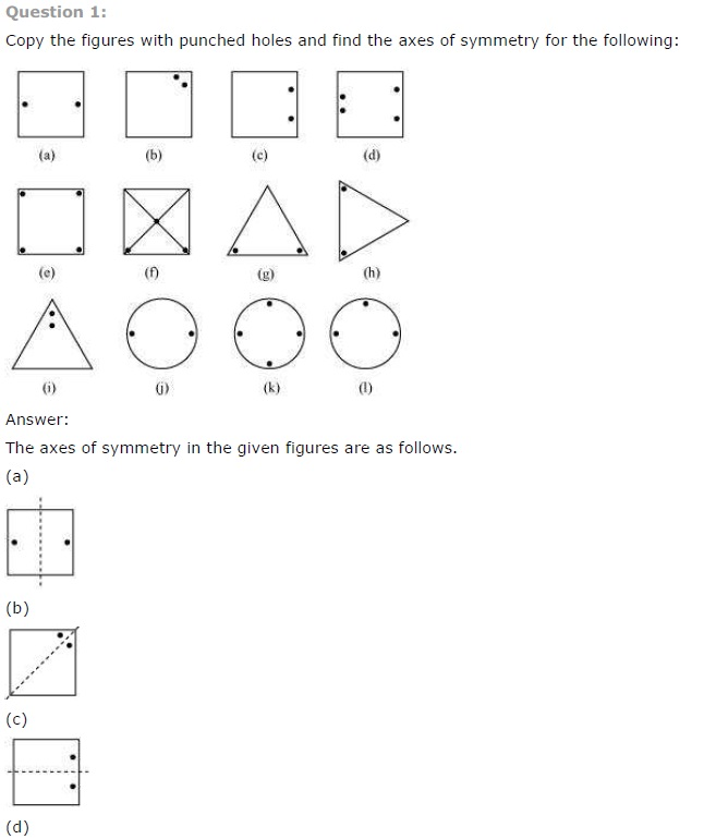 NCERT Solutions for Class 7th Maths Chapter 14 Symmetry Exercise 14.1